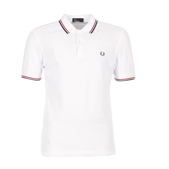 vaatteet Miehet Lyhythihainen poolopaita Fred Perry SLIM FIT TWIN TIPPED White / Red