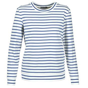 vaatteet Naiset Svetari Petit Bateau BEAM White / Laivastonsininen