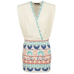 vaatteet Naiset Lyhyt mekko Antik Batik POLIN White / Monivärinen