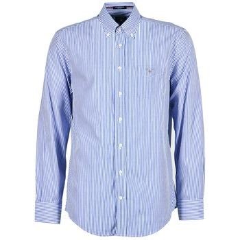 vaatteet Miehet Pitkähihainen paitapusero Gant THE POPLIN BANKER STRIPE Blue