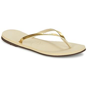 kengät Naiset Varvassandaalit Havaianas YOU METALLIC Gold