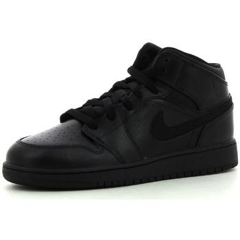 kengät Lapset Korkeavartiset tennarit Nike 1 Mid BG Black / Black