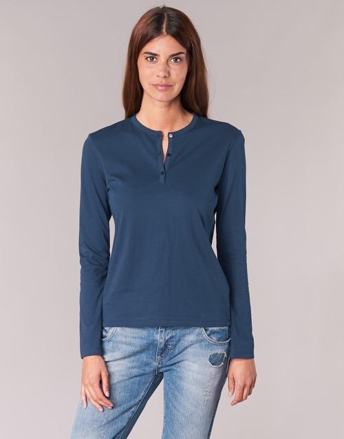 vaatteet Naiset T-paidat pitkillä hihoilla BOTD EBISCOL Laivastonsininen