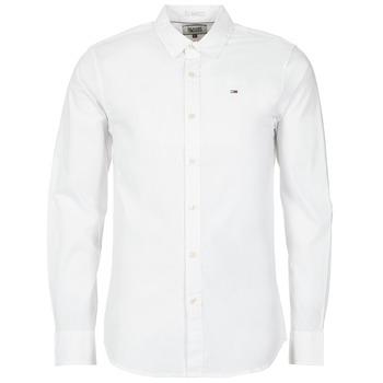 vaatteet Miehet Pitkähihainen paitapusero Tommy Jeans KANTERMI Valkoinen