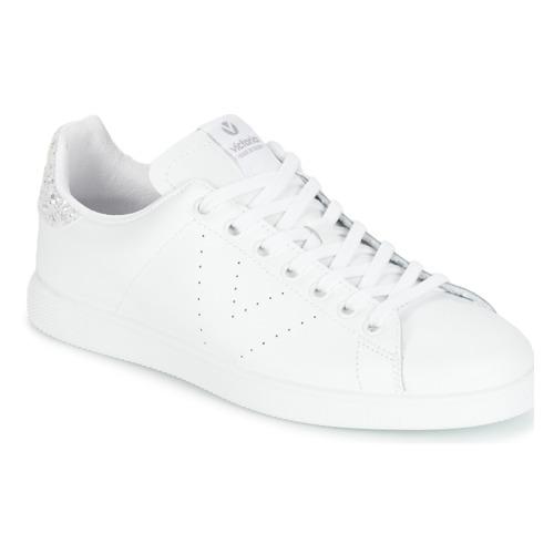 kengät Naiset Matalavartiset tennarit Victoria DEPORTIVO BASKET PIEL White / Hopea