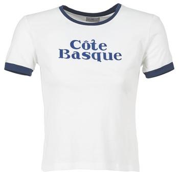 vaatteet Naiset Lyhythihainen t-paita Loreak Mendian COTE BASQUE ECRU / Laivastonsininen