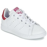 kengät Tytöt Matalavartiset tennarit adidas Originals STAN SMITH EL C White / Pink