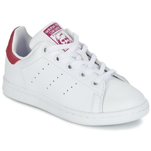 kengät Tytöt Matalavartiset tennarit adidas Originals STAN SMITH EL C White / Pink