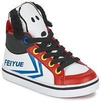 kengät Lapset Korkeavartiset tennarit Feiyue DELTA MID PEANUTS White / Black / Red