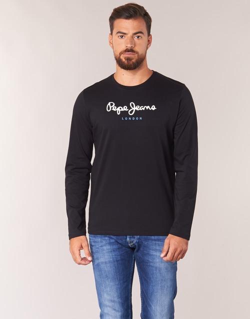 vaatteet Miehet T-paidat pitkillä hihoilla Pepe jeans EGGO LONG Black
