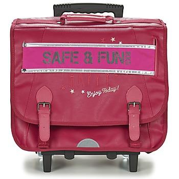 laukut Tytöt Pyörillä kulkevat koululaukut Ikks HAPPY TROLLEY CARTABLE 41CM Pink