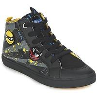 kengät Pojat Korkeavartiset tennarit Geox KIWI BOY Black / Yellow