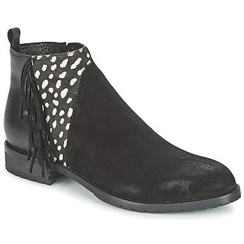 kengät Naiset Bootsit Meline VELOURS NERO PLUME NERO Musta / Valkoinen