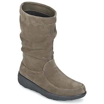 kengät Naiset Bootsit FitFlop LOAF SLOUCHY KNEE BOOT SUEDE Taupe