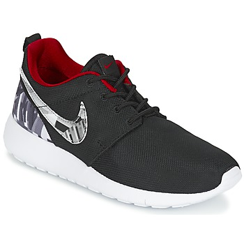 kengät Pojat Matalavartiset tennarit Nike ROSHE ONE PRINT JUNIOR Black / White / Red
