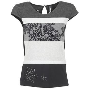 vaatteet Naiset Lyhythihainen t-paita Desigual KITEPI White / Grey / Black