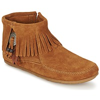 kengät Naiset Bootsit Minnetonka CONCHO FEATHER SIDE ZIP BOOT Brown