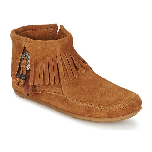 kengät Naiset Bootsit Minnetonka CONCHO FEATHER SIDE ZIP BOOT Brown