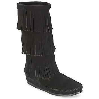 kengät Naiset Saappaat Minnetonka CALF HI 3 LAYER FRINGE BOOT Black