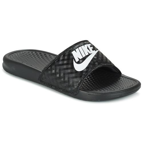 kengät Naiset Rantasandaalit Nike BENASSI JUST DO IT W Black / White