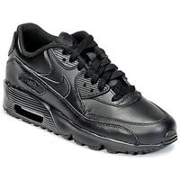 kengät Pojat Matalavartiset tennarit Nike AIR MAX 90 LEATHER GRADE SCHOOL Black