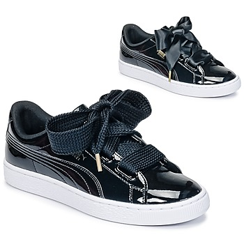 kengät Naiset Matalavartiset tennarit Puma BASKET HEART PATENT WN'S Black