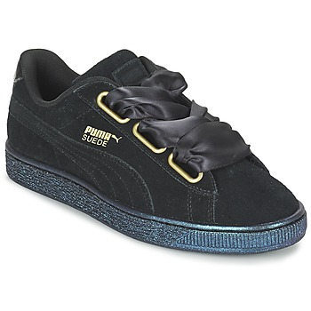 kengät Naiset Matalavartiset tennarit Puma BASKET HEART SATIN WN'S Black