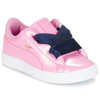 kengät Tytöt Matalavartiset tennarit Puma BASKET HEART PATENT PS Pink / Laivastonsininen