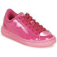 kengät Tytöt Matalavartiset tennarit Puma BASKET PATENT ICED GLITTER PS Pink
