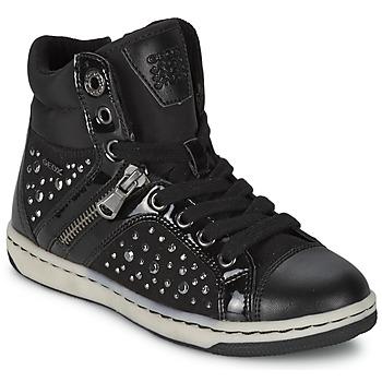 kengät Tytöt Korkeavartiset tennarit Geox CREAMY C Black
