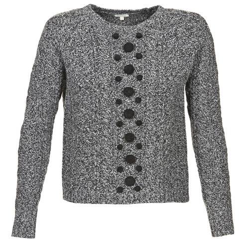 vaatteet Naiset Neulepusero Manoush TORSADE Grey / Black