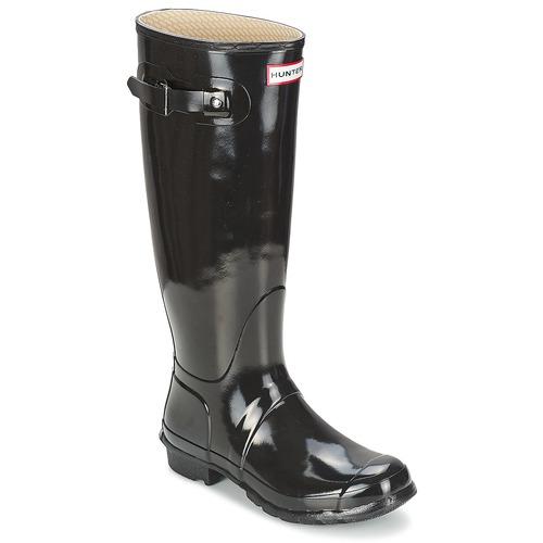kengät Naiset Kumisaappaat Hunter WOMEN'S ORIGINAL TALL GLOSS Black