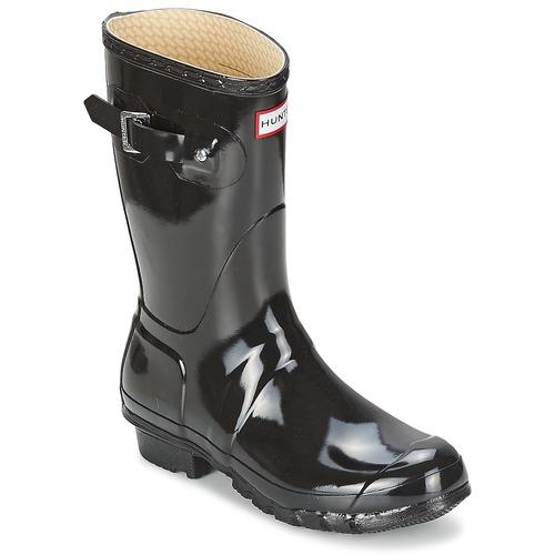kengät Naiset Kumisaappaat Hunter WOMEN'S ORIGINAL SHORT GLOSS Musta