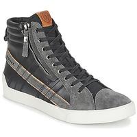 kengät Miehet Korkeavartiset tennarit Diesel D-STRING PLUS Black / Grey