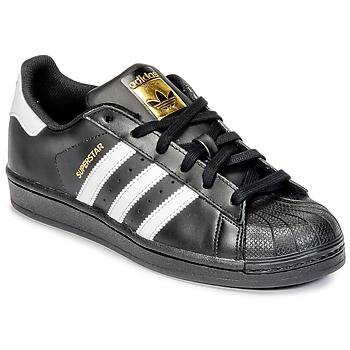 kengät Pojat Matalavartiset tennarit adidas Originals SUPERSTAR Black