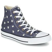kengät Naiset Korkeavartiset tennarit Converse CHUCK TAYLOR ALL STAR DENIM FLORAL HI Laivastonsininen / Yellow / White