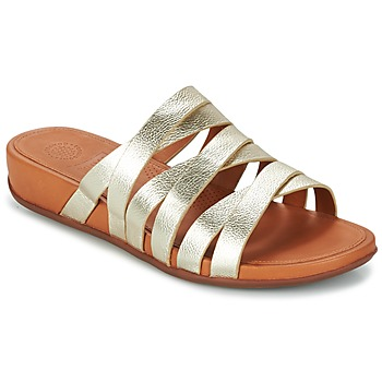 kengät Naiset Sandaalit FitFlop LUMY LEATHER SLIDE Gold