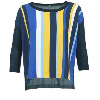 vaatteet Naiset Neulepusero Benetton OVEZAK Blue / Yellow / White