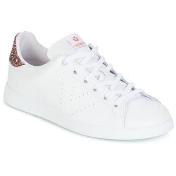 kengät Naiset Matalavartiset tennarit Victoria DEPORTIVO BASKET PIEL White / Glitter