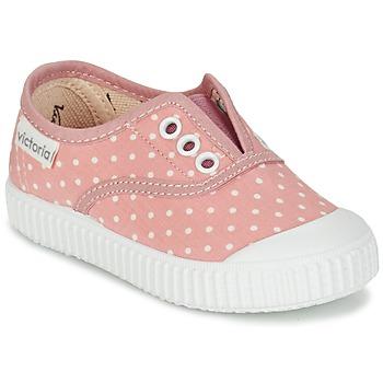 kengät Tytöt Matalavartiset tennarit Victoria INGLESA LUNARES ELASTICO Pink / White