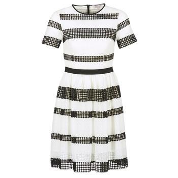 vaatteet Naiset Lyhyt mekko MICHAEL Michael Kors GRAPHIC CR STRIPE DRS Musta / Valkoinen