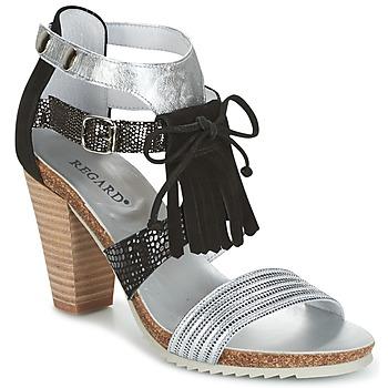kengät Naiset Sandaalit ja avokkaat Regard RIKA Silver / Black