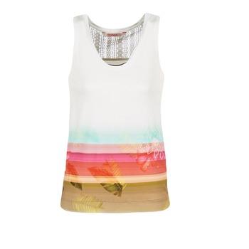 vaatteet Naiset Hihattomat paidat / Hihattomat t-paidat Desigual TEDERI White / Monivärinen
