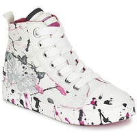 kengät Tytöt Korkeavartiset tennarit Geox J CIAK G. C White / Pink
