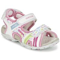 kengät Tytöt Urheilusandaalit Geox J S.ROXANNE A White / Pink
