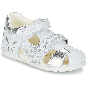 kengät Tytöt Sandaalit ja avokkaat Geox B KAYTAN G. C White / Silver