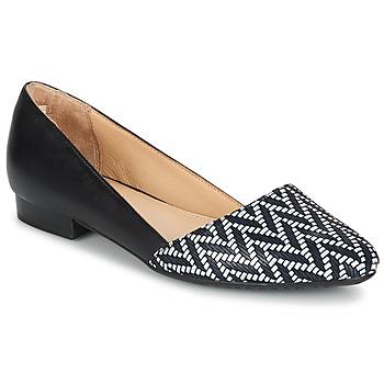 kengät Naiset Balleriinat Hush puppies JOVANNA Black / White