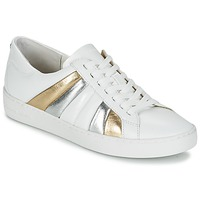 kengät Naiset Matalavartiset tennarit MICHAEL Michael Kors CONRAD SNEAKER White / Gold / Argenté