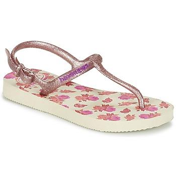 kengät Tytöt Varvassandaalit Havaianas KIDS FREEDOM PRINT Beige / Pink