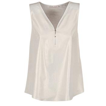 vaatteet Naiset Topit / Puserot Les P'tites Bombes LOUVALE White / Gold